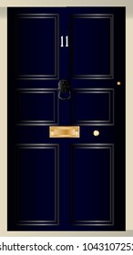 The front door of number eleven downing streat the home of the British Chancellor of the Exchequer.