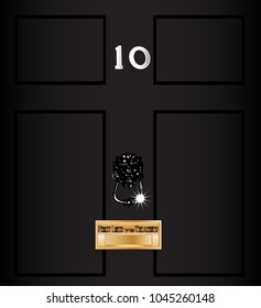 The front door od number ten downing streat the home of the British Prime Minister