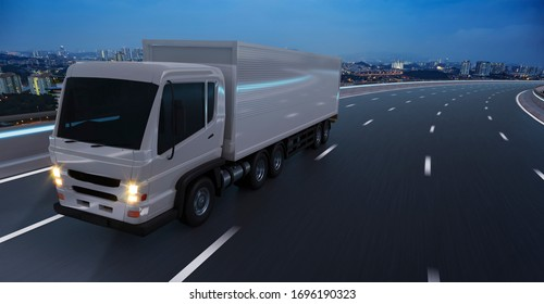 Front and low angle view of delivery truck run on the road at night, fast delivery,cargo logistic and freight shipping concept. 3d rendering.