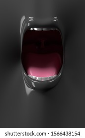 The front of the mouth is wide 3D rendering.