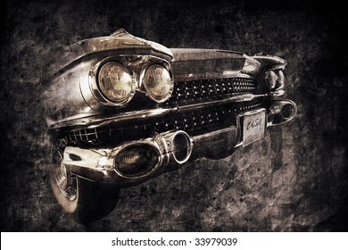 front of an old american car in retro used style