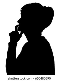 Front profile portrait silhouette of elderly lady finger on her lips thinking