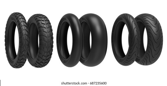 Front and rear, racing, road and off-road, motorcycle tires. 3d llustration, 3D render, isolated on white background