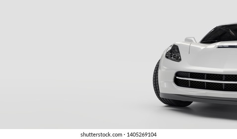 Front right rear view of white sports car on white background 3d rendering