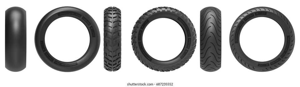 Front and side view of racing, road and off-road, motorcycle tires. 3d llustration, 3D render, isolated on white background