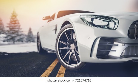 Front of the sports car. 3d render and illusration.