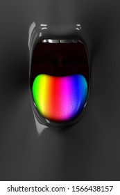 The front of the tongue opens with a rainbow 3D rendering.