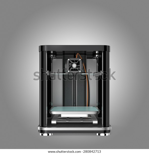 Front view of 3D printer . 3D rendering image with clipping path.