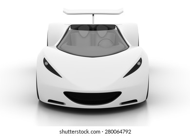 Front view of 3D white sports car isolated on white, 3D render