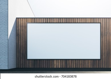 Front view of abstract brick wooden exterior with empty white frame. Advert, commerce, retail and signboard concept. Mock up, 3D Rendering