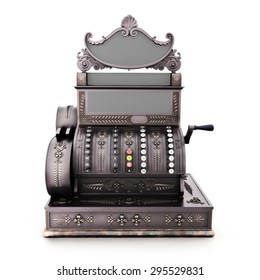 Front view of an Antique retro cash register isolated on a white background.