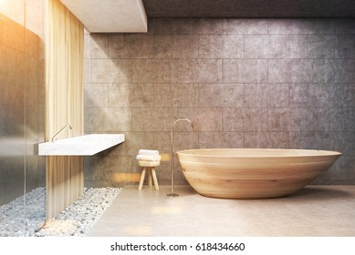 Front view of a bathroom interior with gray and wooden walls, a wooden bath tub and a double sink. 3d rendering, toned image