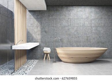 Front view of a bathroom interior with gray and wooden walls, a wooden bath tub and a double sink. 3d rendering.