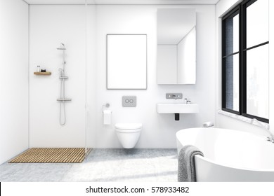 Front view of a bathroom interior with a shower, a toilet and a sink. There is a large window and a tall mirror on a wall. 3d rendering. Mock up.