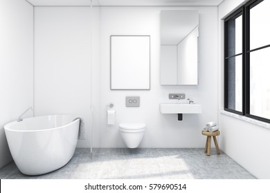 Front view of a bathroom interior with a tub, a toilet and a sink. There is a large window and a tall mirror on a wall. 3d rendering. Mock up.