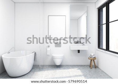 front view bathroom interior tub toiletのイラスト素材 579690514