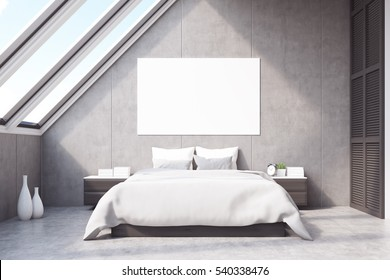 Front view of a bedroom in the attic with a large horizontal poster situated above the master bed. 3d rendering. Mock up.