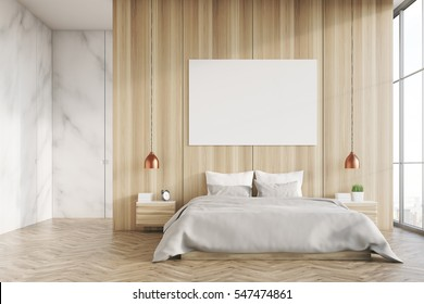 Front view of a bedroom interior with a king size bed,  light wood and marble walls, panoramic window and a horizontal poster. 3d rendering. Mock up.