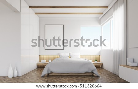 Front View Of Bedroom With Sofa And Framed Poster Above The Bed. Concept Of  Minimalism