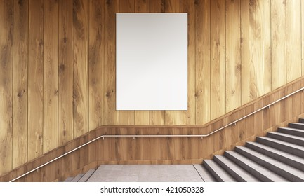 Front view of blank poster on wooden wall and stairs with railing. Mock up, 3D Rendering