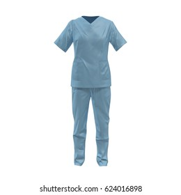 Front view blue female doctor uniform stained with blood isolated on white. No people. 3D illustration