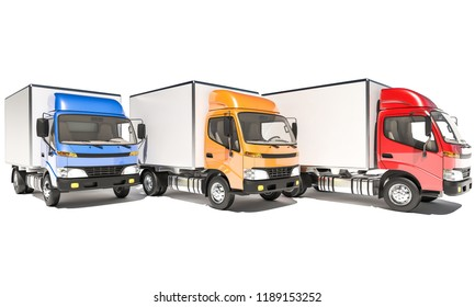 Front View of Box Trucks in a Row 3d rendering