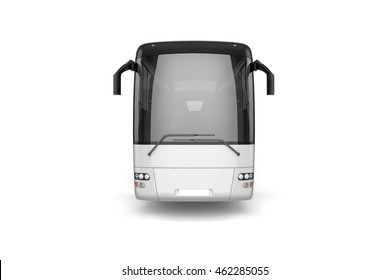 Front View - Bus Mock Up on White Background, 3D Illustration