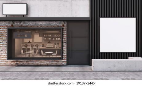 Front view Cafe shop Modern and Loft Restaurant design.Wall brick frame windows black,Billboard on black metal slat wall,Concrete floor- 3D render