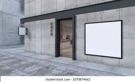 Front view Cafe shop & Restaurant design. Modern Minimal wall concrete black metal white frame mockup- 3D render