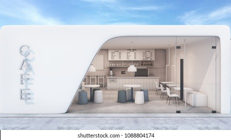 Front view Cafe shop & Restaurant  Modern Design. Modern white curved wall,concrete floor,Modern Design Furniture,Counter Bar Concrete with White Tiles- 3D render
