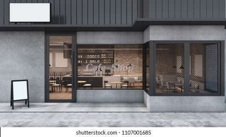 Front View Cafe Shop U0026 Restaurant Design. Modern Loft Metal Sheet Black.  Wall Concrete
