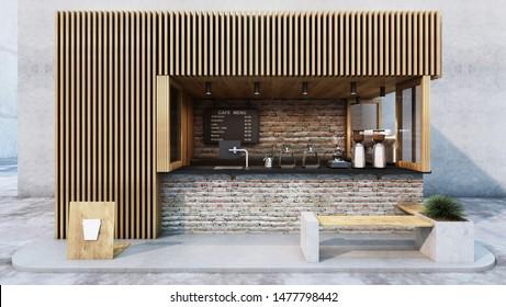 Front view Cafe shop  Restaurant design. Modern minimal wood slat.Counter top black metal brick,windows wood frame- 3D render