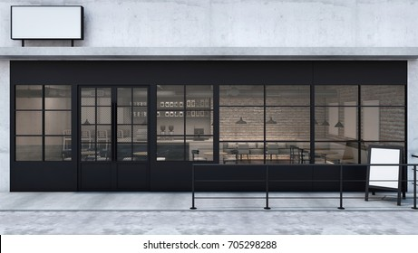 Front view Cafe shop & Restaurant design. Modern Loft counter steel black. Top counter concrete, 3D render