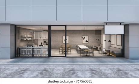 Front view Cafe shop & Restaurant design Modern Loft in the department store.- 3D rendering