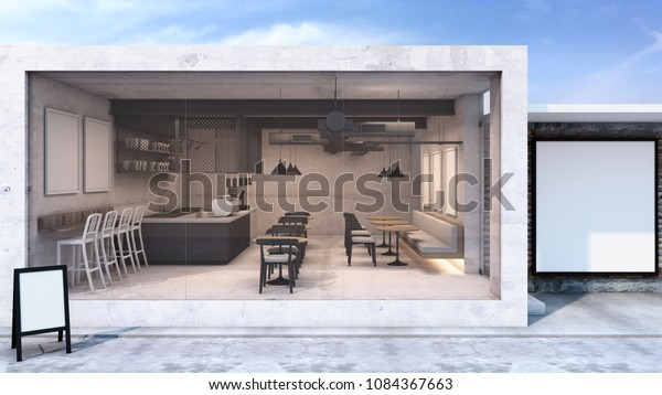 Front View Cafe Shop Restaurant Design Stock Illustration