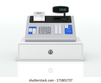 front view of a cash register with receipt (3d render)