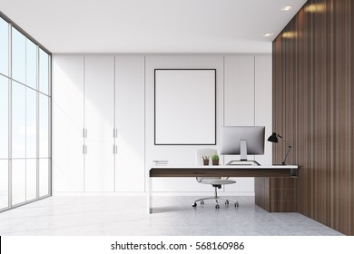 Front view of a CEO office with dark wooden walls, panoramic window, a framed vertical poster and a table with a computer on it. 3d rendering. Mock up.