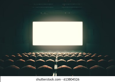 Front view of cinema with blank screen. Toned image. Mock up, Ad concept, 3D Rendering