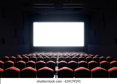 Front view of cinema with blank screen. Mock up, Ad concept, 3D Rendering