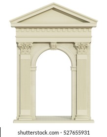 Front view of a classic arch with Corinthian column and triangular tympanum isolated on white - 3d Rendering