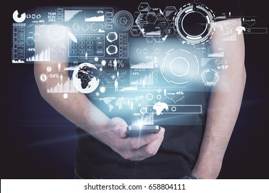 Front view and close up of male hands using smartphone with with digital business hologram. Savings concept. 3D Rendering