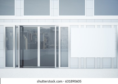 Front view of concrete tile building exterior with glass doors and empty poster. Ad concept. Mock up, 3D Rendering