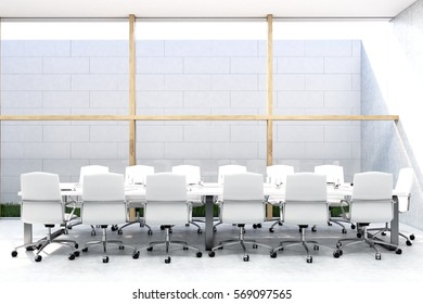 Front view of a conference room with a long table, white chairs, wooden pillars and concrete wall. Sky is seen through the ceiling. 3d rendering. Mock up.
