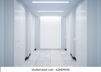 Front view of corridor interior with blank billboard. Mock up, 3D Rendering