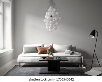 Vista frontal de un pequeño y acogedor sofá con una interesante lámpara de araña en el interior de la sala de estar moderna - 3 d de renderización