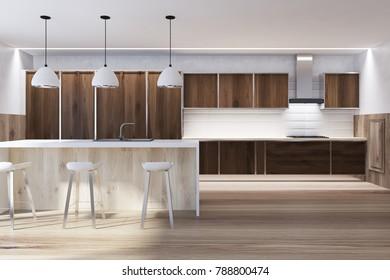 Front View Of A Dark Wooden Kitchen Interior With Floor White Bar