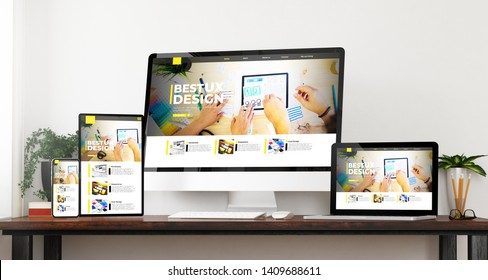 front view devices ux design website 3d rendering