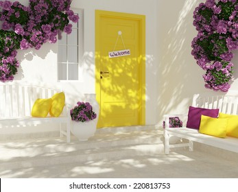Front view of door on a white house with window. Beautiful purple roses and benches on the porch. Entrance of a house.