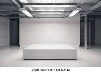 Front view of empty podium in warehouse interior. Mock up, 3D Rendering
