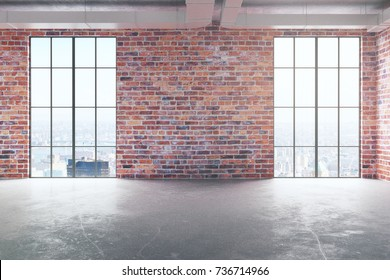 Front view of empty red brick interior with concrete floor and panoramic windows with city view and sunlight. Real estate concept. 3D Rendering